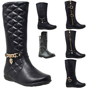 Kids-Boots-Girls-Toddler-Youth-Mid-Calf-Booties-Low-Heel-w-Zipper-Closure-Black