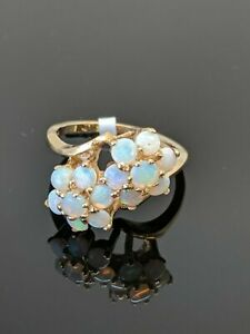 2-20Ct-Oval-Cut-Fire-Opal-Vintage-Engagement-Flower-Ring-14k-Yellow-Gold-Over