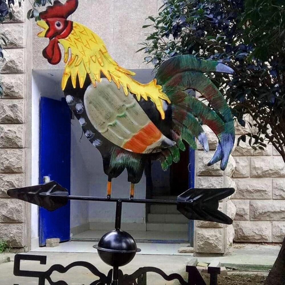 Garden Patio Metal Weathervane Cock Ornament Wind Direction Weather Vane Decor