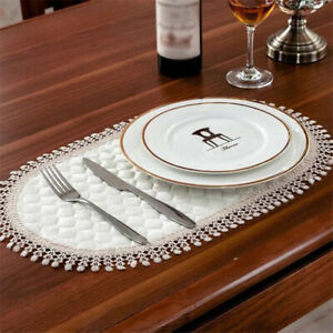 Details About Round Lace Placemats Drinks Coasters Kitchen Dining Table Mats Tablemats Cb
