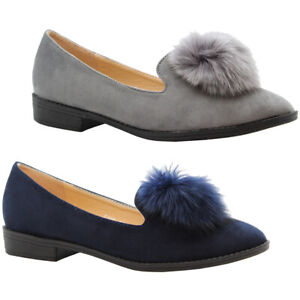 Ladies Sneaker Slip On Ballet Pompom Loafers Womens Flat Office Pumps Shoes Size
