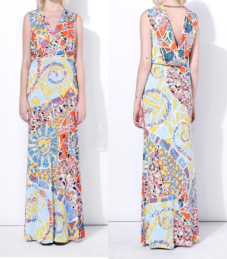 MW008017 - DESIGNER MULTICOLOUR JERSEY SILK MAXI DRESS (C)