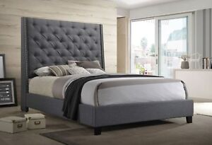 Details About 1pc Queen Size Buttons Tufted Fabric Headboard W/Nailheads  Panel Bed Frame Gray