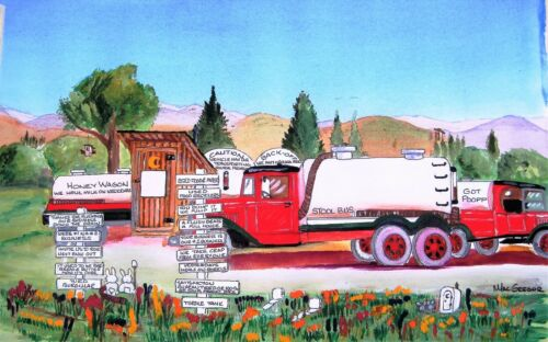SEPTIC TRUCK Slogans Personalized Art Print Outhouse bathroom company gift jokes