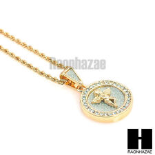 """ICED OUT DOUBLE OVAL MEDALLION ANGEL PENDANT w/ 24"""" ROPE CHAIN NECKLACE KN017"""