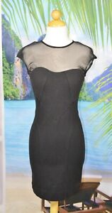 BEBE KARDASHIANS Black BodyCon Dress Small Sheer Shoulders and Back Full Zipper