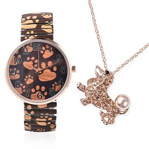 STRADA-Japanese-Movement-Poodle-Stretch-Watch-with-Pendant-Necklace-24-034-Rosetone