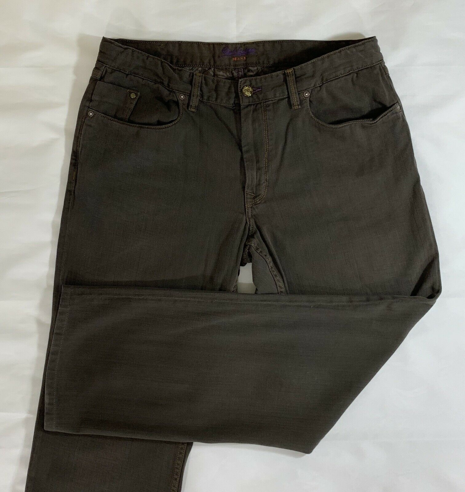 Robert Graham Size 38-31 Men's Jeans Yates Classic  Relaxed Brown 100% Cotton