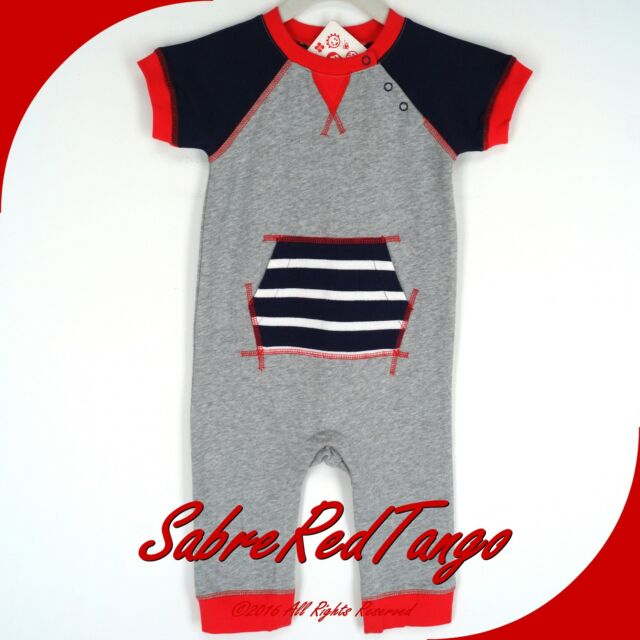NWT HANNA ANDERSSON FRENCH TERRY ROMPER HEATHER GREY NAVY BLUE RED 80 10-24 M