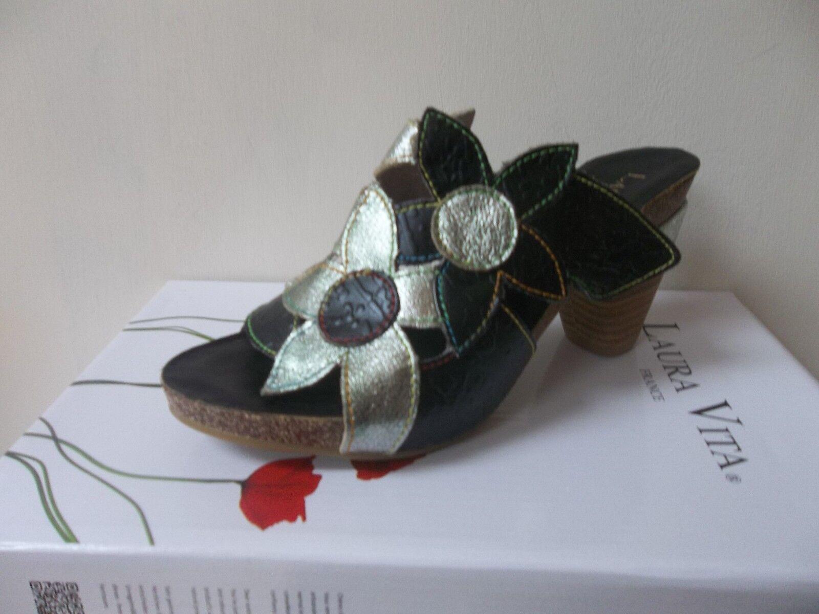 Laura VITA Nero/Verde Shimmer Floreale muli, /EU 38, prezzo consigliato .99, BNWB