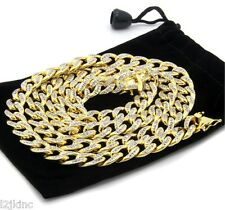 """14k Gold Finish Iced Out Simulated Cz Mens Miami Cuban Chain 30"""" Necklace"""