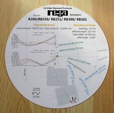 Rega R200/RB250/RB251/RB300/RB301 Custom Designed Tonearm Alignment Protractor