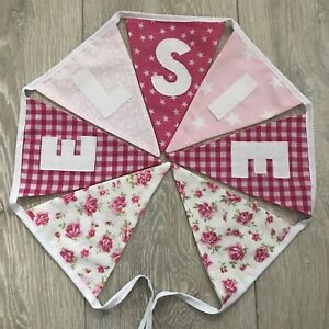 PERSONALISED Fabric BUNTING  BIRTHDAY Baby GIRL Pink Floral £1.80 Per Letter