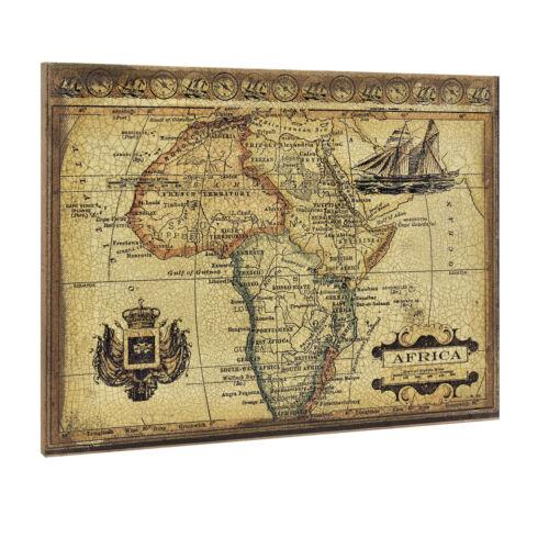 art.work Wandbild 80x60cm GERAHMT Afrika Karte Atlas Landkarte Bild Weltkarte