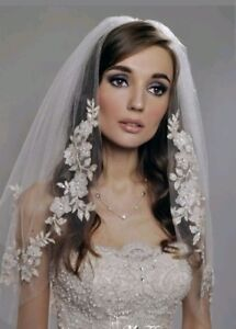 UK-2-Tier-White-Ivory-Elbow-Length-Pearls-Bridal-Wedding-Veil-With-Comb-Lace