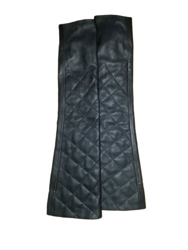 NWT Genuine Lamb Leather Quilted Long Finger-less Gloves