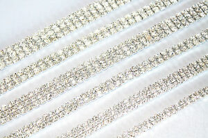 1 2 3 4 Row Diamante Crystal Rhinestone Chain Trims Cake Silver / Gold Browband