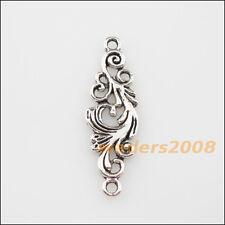 4Pcs Antiqued Silver Tone Flower Wings Charms Pendants 11x35mm
