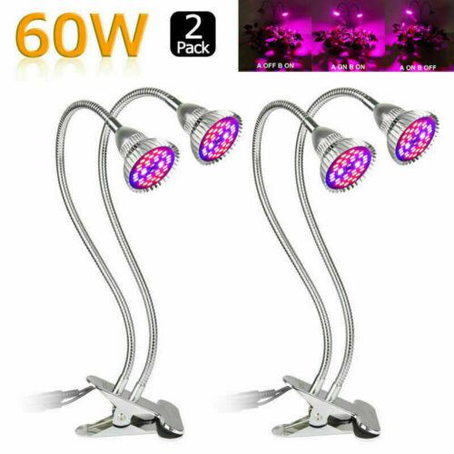 60W Voll Spektrum Dual Kopf LED Pflanzenlampe Grow Light Lamp Wachstumslampe DE