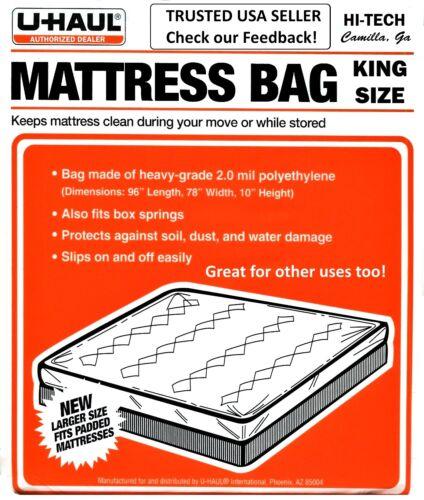 UHAUL Mattress Bag KING SIZE 96/'/'L 78/'/' W 10 H Plastic Dust Bug Waterproof USA