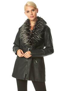 Longline Faux Leather Faux Fur Trim Coat Women Roman Originals
