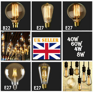 Details About E27 Bulbs 60 4w 8w Edison Vintage Filament Globe Electric Lighting Lamp Bulb Uk