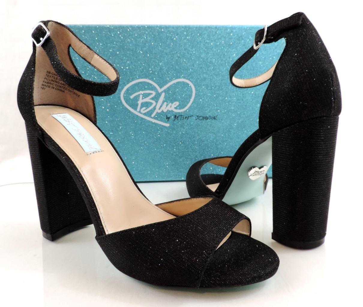blu Betsey Johnson Carley Ankle Strap Block Heels Dress Dress Dress Sandals nero Dimensione 10 693ee5