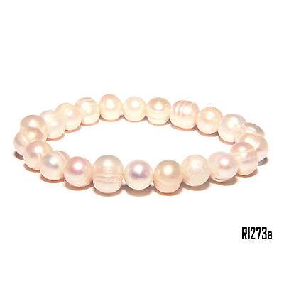 Echt Süßwasser Zucht Perlenkette Armband Armkette 190 x 9-10mm Collier Z1273