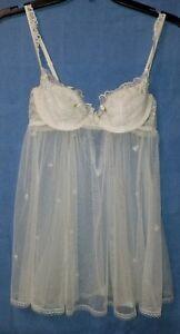 34b Avorio taglia Vintage Victoria's perline eccellente con Secret Babydoll wxqzv7C4nY