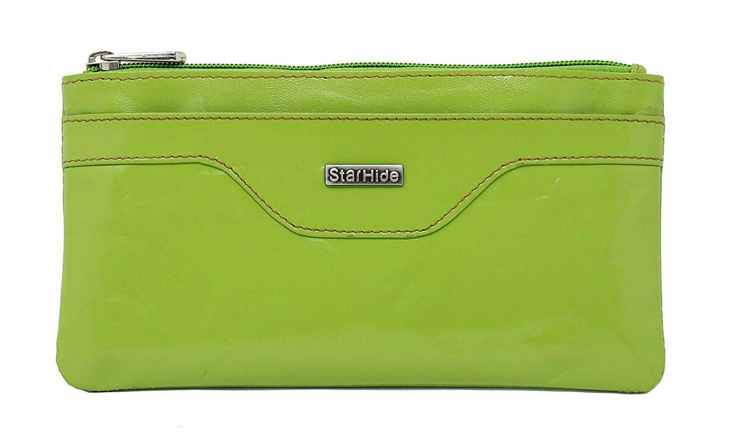 Ladies RFID Blocking Leather Pouch Purse Green