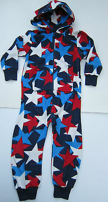 EX HIGH STREET FLEECE RED WHITE /& BLUE STAR ALL IN ONE PYJAMAS SUIT AGES 3-16