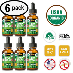 Best Hemp Oil Drops for Pain Relief, Stress, Sleep PURE & ORGANIC 1000mg 6 PACK