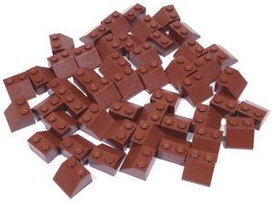 LEGO-50-x-Dachstein-45-Grad-2x2-braun-Reddish-Brown-Slope-3039-NEUWARE
