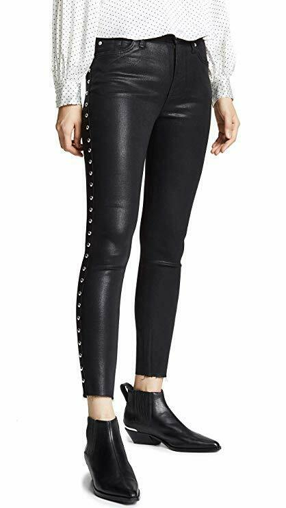 """24"""" W - 26"""" L Noir Cheville Jean Skinny Rivets 7 For All Mankind-rip Ourlet Neuf Avec étiquettes"""