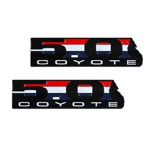 2pc 11-19 Mustang F-150 Boss 302 5.0 Coyote Black Red White Blue Emblem