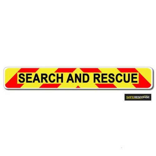 Magnetic sign SEARCH AND RESCUE chevron design Background and text vehicle MG140