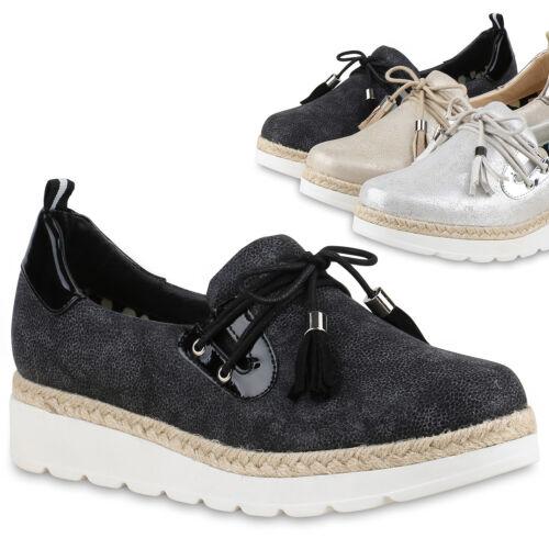 895109 Slipper Plateauschuhe Bast Quasten Metallic Schuhe Trendy