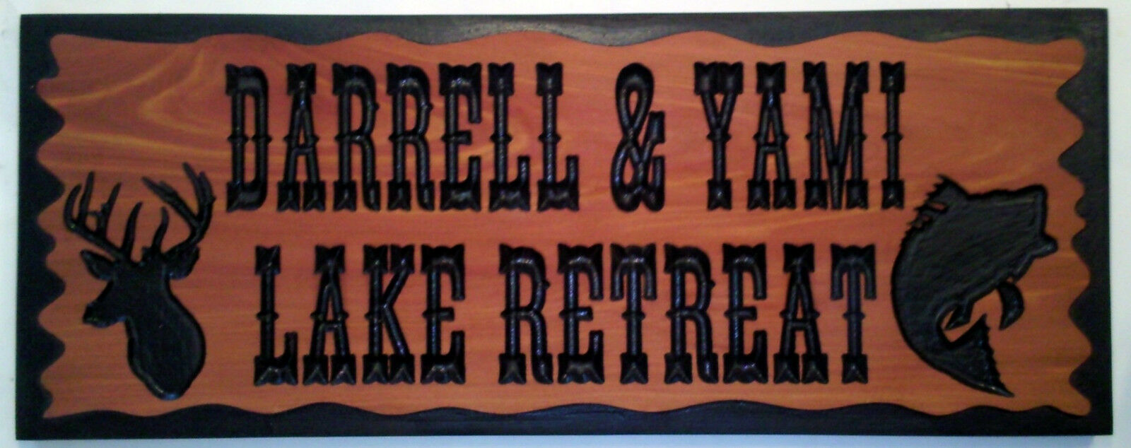 Carved Wood Sign Address Plaque WITH GRAPHICS, Routed Cedar COUNTRY style border