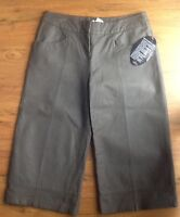 Newport News Size 8p Brown Leather Pants 18 Inseam Cropped