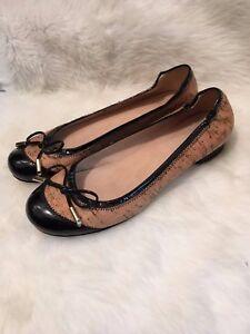 Stuart-Weitzman-Flats-Beige-Cork-Ballets-Ballerina-Size-7-Patent-Leather