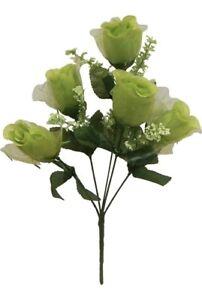5 Roses Apple Green Key Lime Wedding Bouquet Silk Flowers Centerpieces