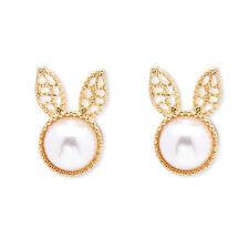 Molto carino GOLD TONE BIANCO PERLA Bunny Rabbit Orecchini