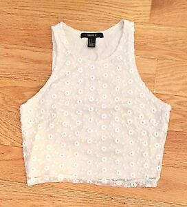 Forever 21 ivory off white floral embroidery flower sleeveless crop image is loading forever 21 ivory off white floral embroidery flower mightylinksfo