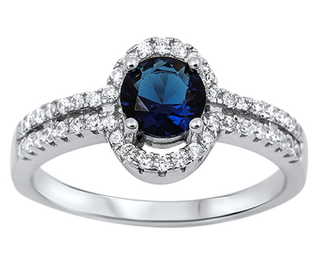New Round Blue Sapphire CZ Oval Shape Sterling Silver Ring