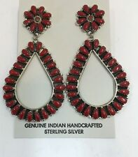 Native American sterling silver handmade Coral cluster dangle earring