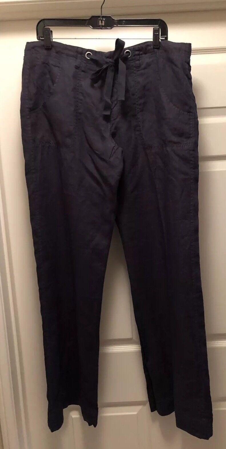 NWT Joie Drawstring Women's Size 12 Linen Wide-Leg Pants  198 Midnight bluee