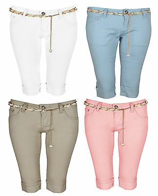 Ladies 3/4 Gold Chain Pearl Jewel Belted Turn UP Capri Party Pants Shorts 6-14