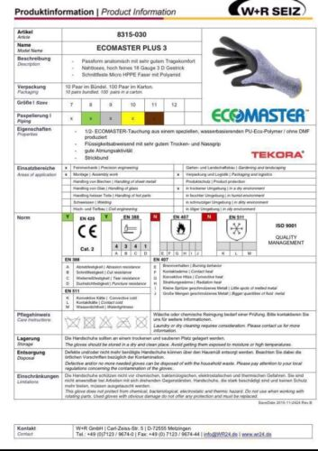 1Paar W+R Seiz Ecomaster Plus3 8315-030 Größe9