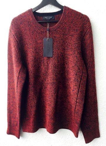 New RAG & BONE  Herren 100% Wool Vincent Crew Sweater NWT Größe L 395