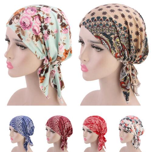 LADY musulmani Ruffle stampato il Cancro Cap Hat Beanie Sciarpa turbante fascia perdita di capelli